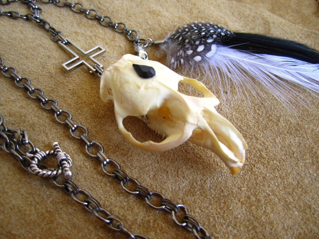 """Muskrat Skull Anti-rosary"" from Myly's jewelry line, Iconoclast Creations"