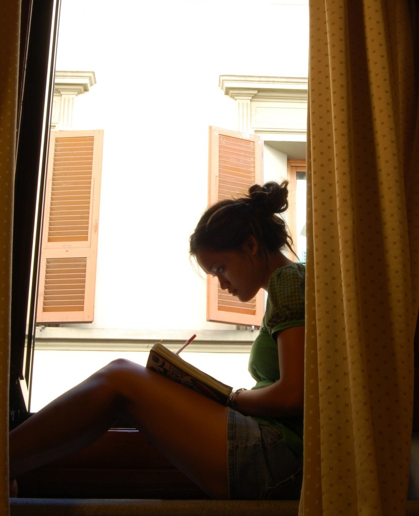 Alisa Damaso Self-portrait. Writing in Florence, Italy. 2008