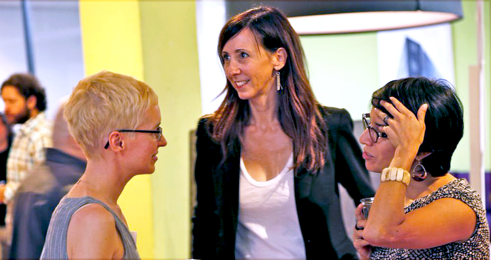 Julia Friedman (center) with Artists Kara Maria (L) and Gisela Insuaste (R). Photo by Jasmine Boloorian