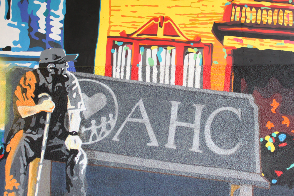 Excerpt from the first Oakland Super Heroes Mural Project on San Pablo St. Photo courtesy of AHC