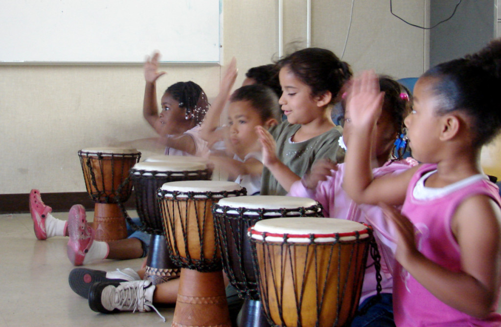 Children participate in a Mindful Drumming class as part of the AHC ArtEsteem program. Photo courtesy of AHC.